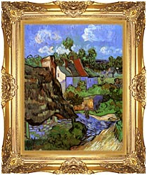 Vincent Van Gogh Houses At Auvers canvas with Majestic Gold frame