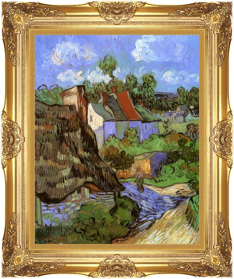 Vincent van Gogh Houses at Auvers with Majestic Gold Frame