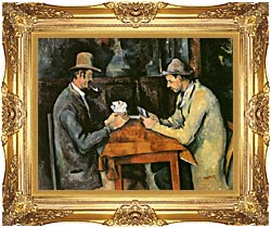 Paul Cezanne The Card Players canvas with Majestic Gold frame