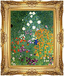 Gustav Klimt Farm Garden Portrait Detail canvas with Majestic Gold frame