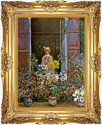 Claude Monet Camille Monet At The Window canvas with Majestic Gold frame