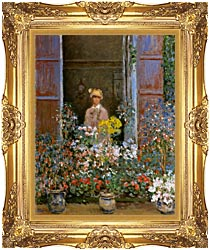 Claude Monet Camille Monet At The Window 1873 canvas with Majestic Gold frame