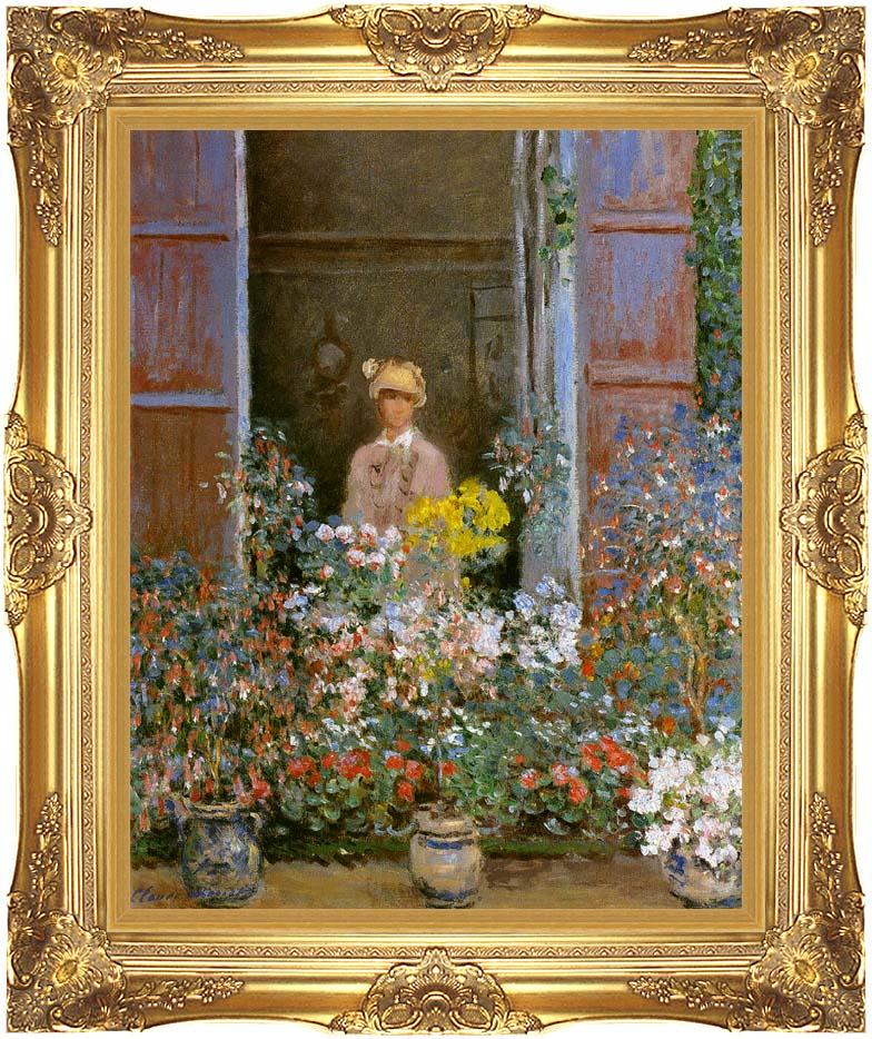Claude Monet Camille Monet at the Window 1873 with Majestic Gold Frame