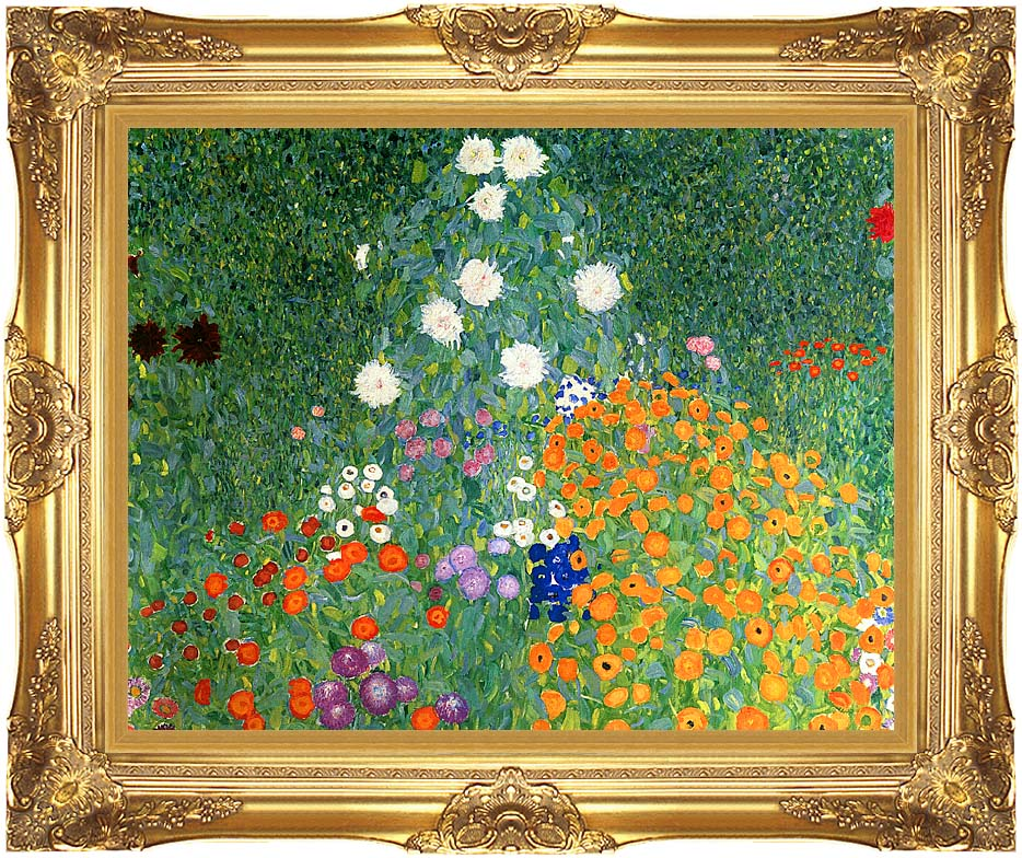 Gustav Klimt Farm Garden (detail) with Majestic Gold Frame