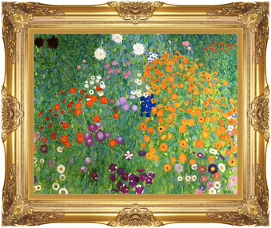 Gustav Klimt Farm Garden 1905-6 (detail) with Majestic Gold Frame