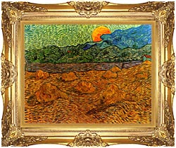Vincent Van Gogh Evening Landscape With Rising Moon canvas with Majestic Gold frame