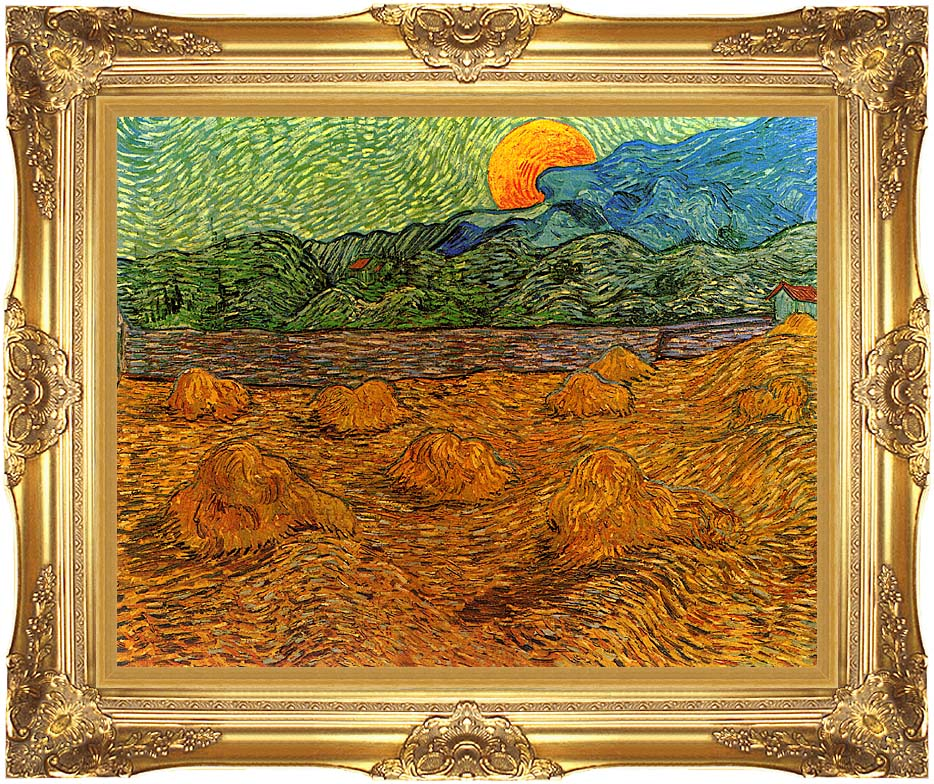 Vincent van Gogh Evening Landscape with Rising Moon with Majestic Gold Frame