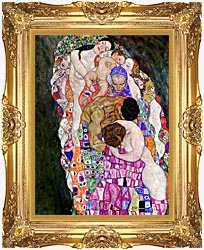 Gustav Klimt Death And Life Life Detail canvas with Majestic Gold frame