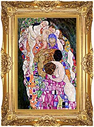 Gustav Klimt Death And Life Life Portrait Detail canvas with Majestic Gold frame