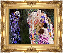 Gustav Klimt Death And Life Detail canvas with Majestic Gold frame