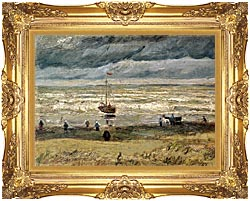Vincent Van Gogh View Of The Sea At Scheveningen canvas with Majestic Gold frame