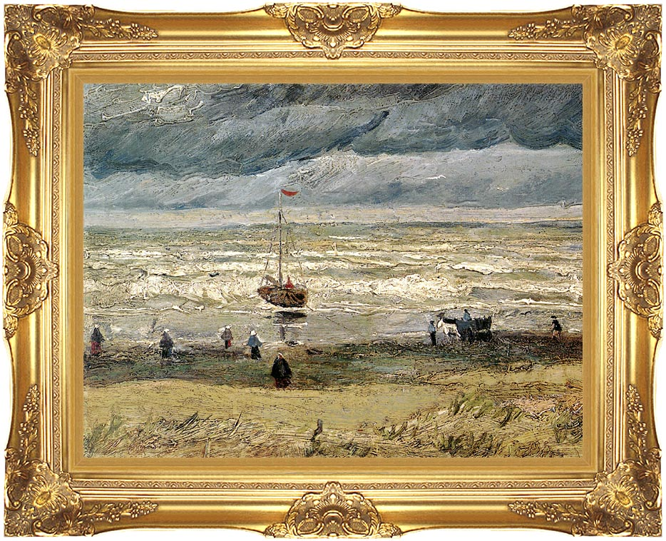 Vincent van Gogh View of the Sea at Scheveningen with Majestic Gold Frame