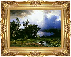 Albert Bierstadt Buffalo Trail The Impending Storm canvas with Majestic Gold frame