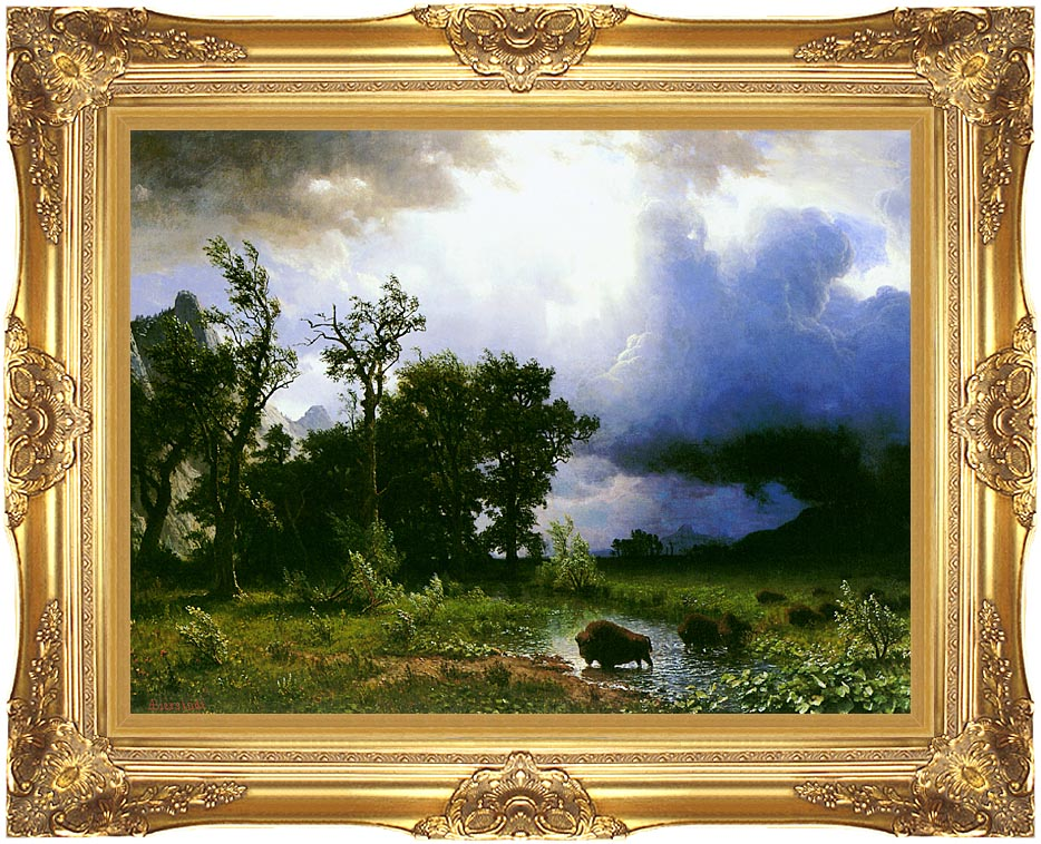 Albert Bierstadt Buffalo Trail: The Impending Storm with Majestic Gold Frame