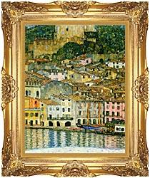 Gustav Klimt Malcesine On Lake Garda Detail canvas with Majestic Gold frame
