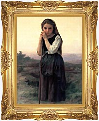 William Bouguereau Little Shepherdess canvas with Majestic Gold frame