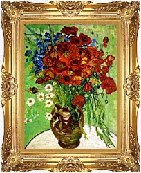 Vincent Van Gogh Still Life Red Poppies And Daisies canvas with Majestic Gold frame