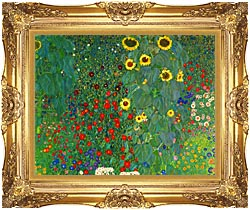 Gustav Klimt Farm Garden With Sunflowers Detail Canvas With Majestic Gold  Frame