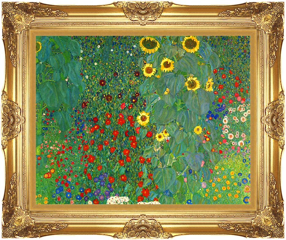Gustav Klimt Farm Garden with Sunflowers (detail) with Majestic Gold Frame