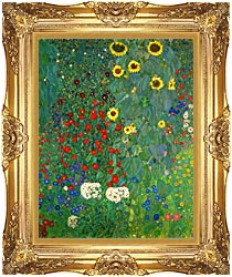 Gustav Klimt Farm Garden With Sunflowers Portrait Detail Canvas With  Majestic Gold Frame