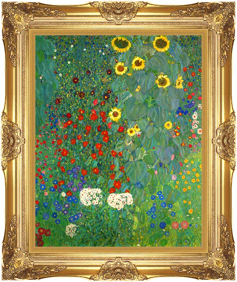 Gustav Klimt Farm Garden with Sunflowers (portrait detail) with Majestic Gold Frame