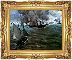 Edouard Manet Battle Of The Kearsarge And The Alabama Detail canvas with Majestic Gold frame