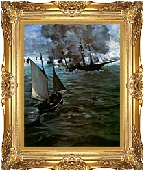 Edouard Manet Battle Of The Kearsarge And The Alabama Portrait Detail canvas with Majestic Gold frame