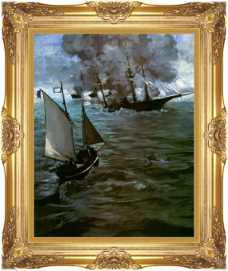 Edouard Manet Battle of the Kearsarge and the Alabama (portrait detail) with Majestic Gold Frame