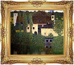 Gustav Klimt Schloss Kammer On The Attersee I canvas with Majestic Gold frame