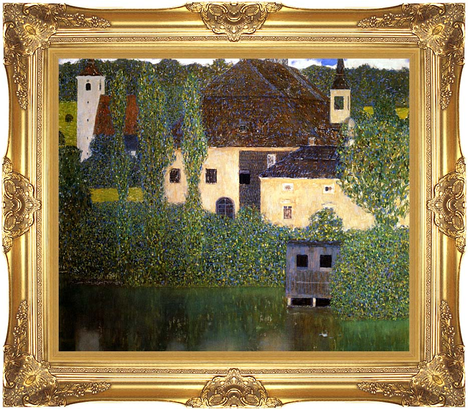 Gustav Klimt Schloss Kammer on the Attersee I with Majestic Gold Frame