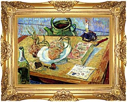 Vincent Van Gogh Still Life Plate With Onions Drawing Board Pipe And Other Objects canvas with Majestic Gold frame