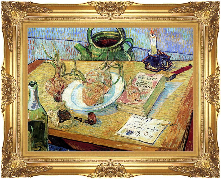 Vincent van Gogh Still Life: Plate with Onions, Drawing Board, Pipe and Other Objects with Majestic Gold Frame