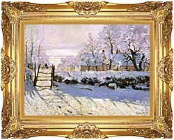 Claude Monet The Magpie Snow Effect canvas with Majestic Gold frame