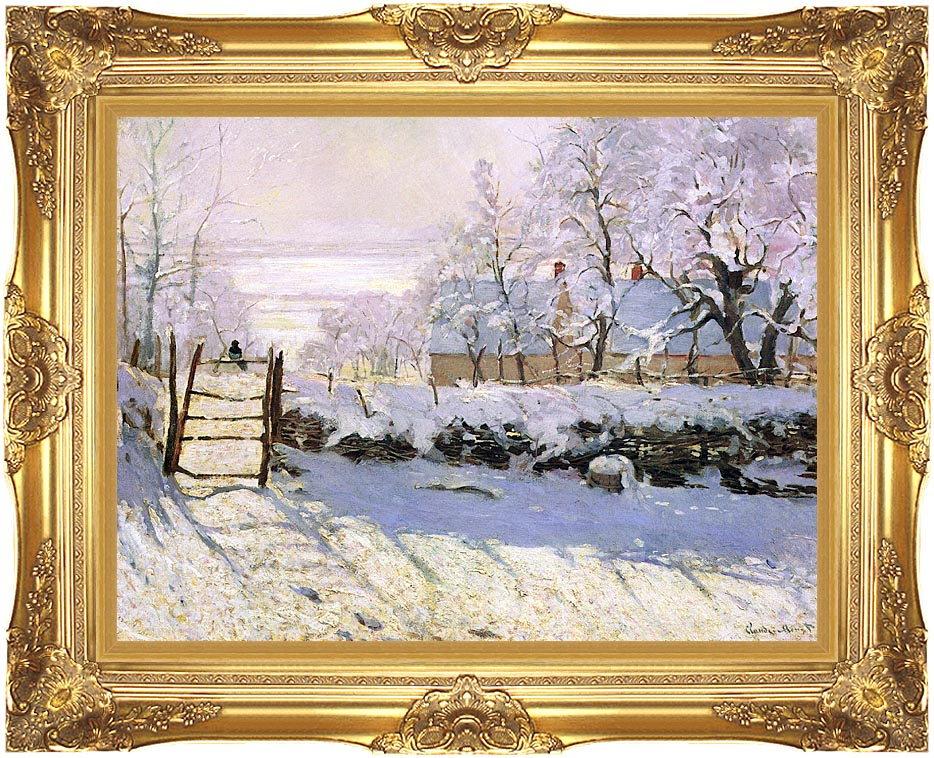 Claude Monet The Magpie, Snow Effect with Majestic Gold Frame