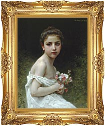 William Bouguereau Little Girl With A Bouquet canvas with Majestic Gold frame