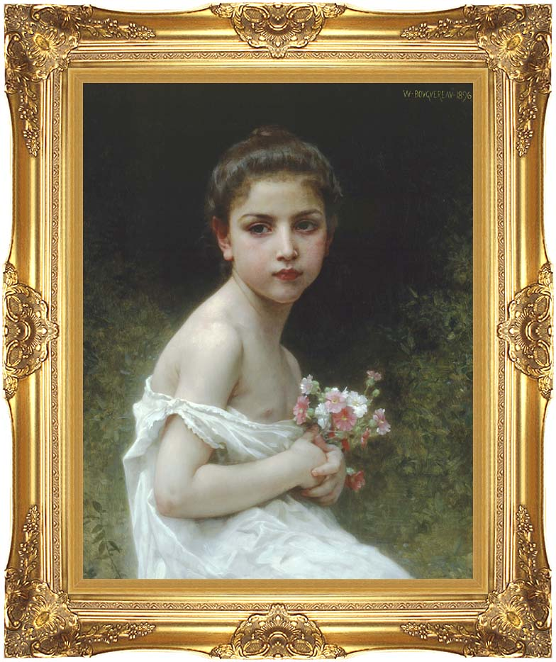 William Bouguereau Little Girl with a Bouquet with Majestic Gold Frame