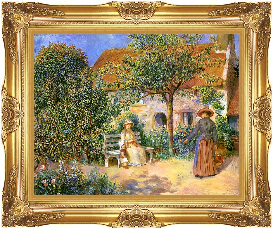 Pierre Auguste Renoir Garden Scene in Brittany with Majestic Gold Frame