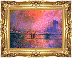 Claude Monet Charing Cross Bridge La Tamise 1903 canvas with Majestic Gold frame