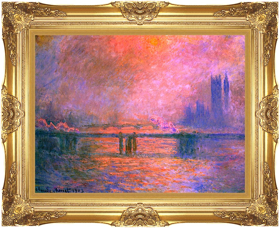 Claude Monet Charing Cross Bridge, la Tamise 1903 with Majestic Gold Frame