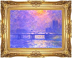 Claude Monet Charing Cross Bridge La Tamise canvas with Majestic Gold frame