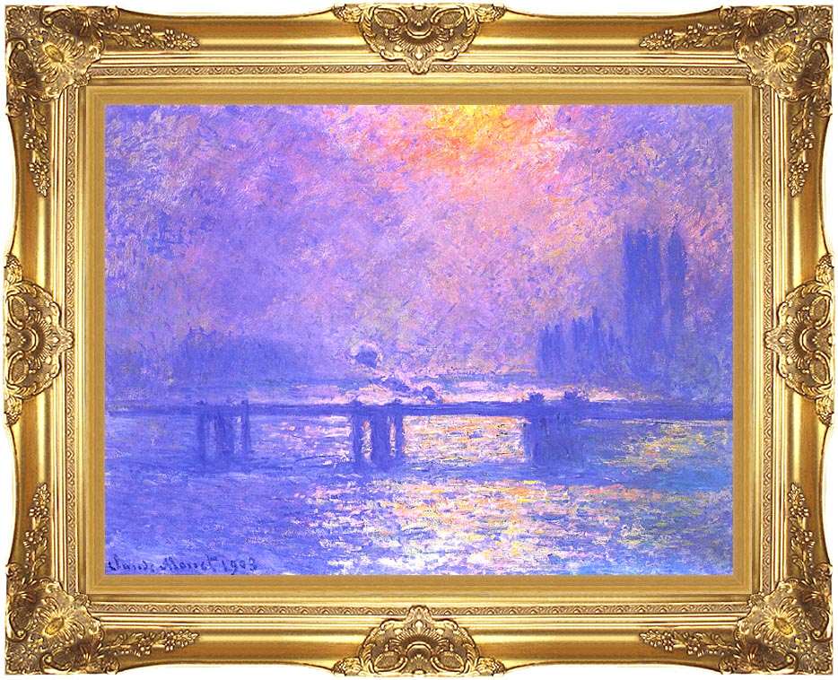 Claude Monet Charing Cross Bridge, la Tamise with Majestic Gold Frame