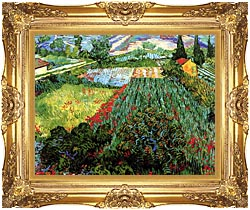 Vincent Van Gogh Field With Poppies canvas with Majestic Gold frame