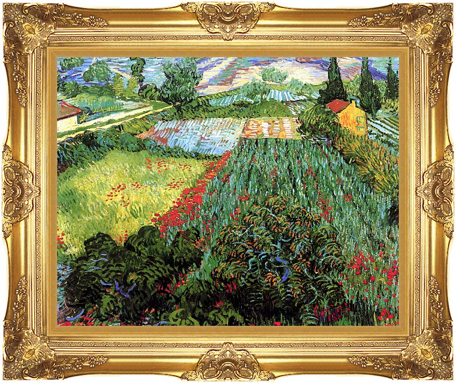 Vincent van Gogh Field with Poppies with Majestic Gold Frame