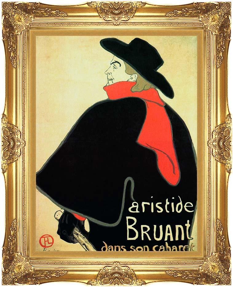 Henri de Toulouse Lautrec Aristide Bruant in his Cabaret with Majestic Gold Frame