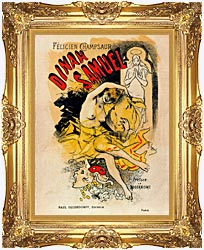 Jules Cheret Cover For Felicien Champsaurs Dinah Samuel canvas with Majestic Gold frame