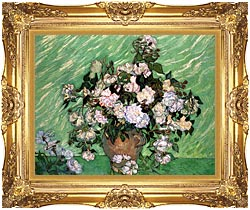 Vincent Van Gogh Vase With Pink Roses I canvas with Majestic Gold frame