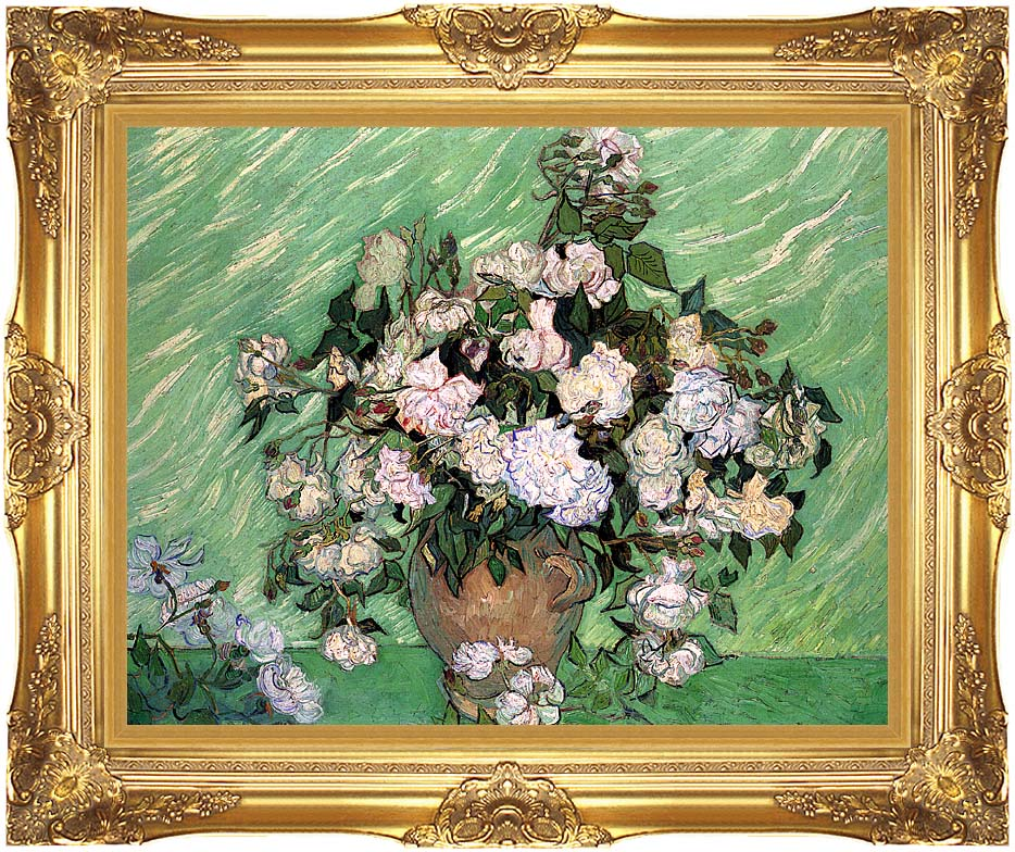 Vincent van Gogh Vase with Pink Roses I with Majestic Gold Frame