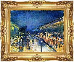 Camille Pissarro Boulevard Montmartre Night Effect canvas with Majestic Gold frame