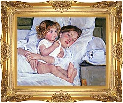 Mary Cassatt Breakfast In Bed canvas with Majestic Gold frame