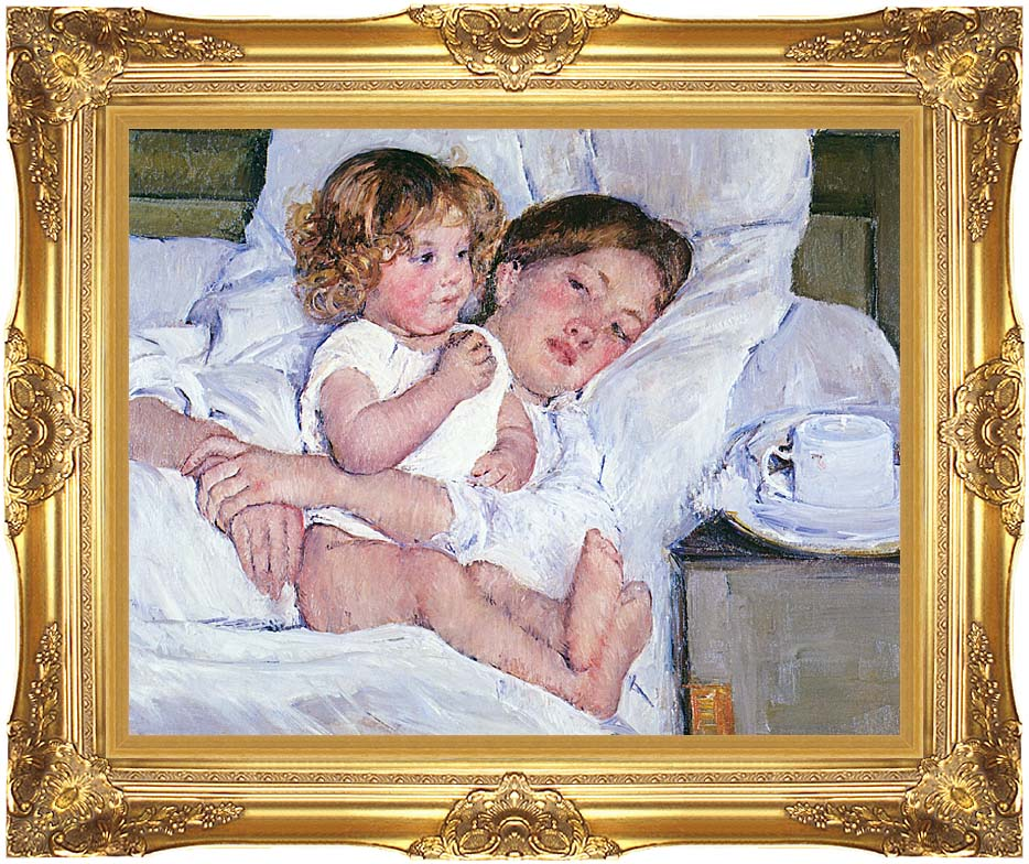 Mary Cassatt Breakfast in Bed with Majestic Gold Frame